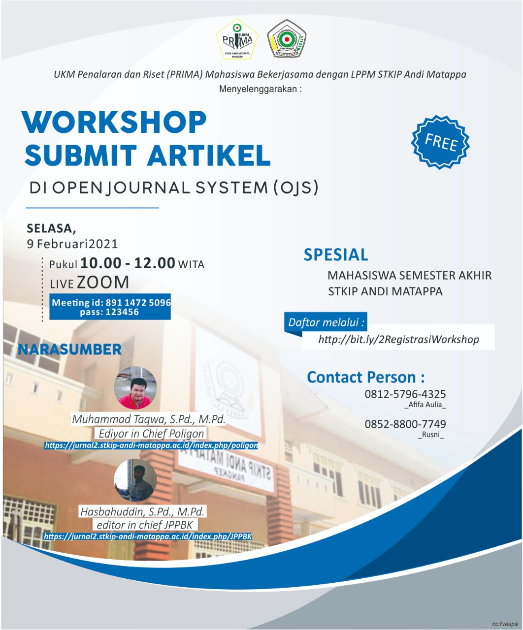 UKM Penalaran dan Riset (Prima) dan LPPM STKIP Andi Matappa akan gelar Workshop submit artikel di Open Journal System (OJS)